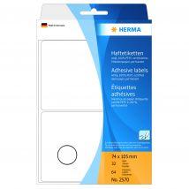 64 étiquettes blanches - 74x105mm
