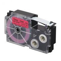 Ruban adhésif XR-12FPK-W-DH - noir sur fond rose - 12 mm - Casio