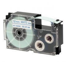 Ruban adhésif XR-12WEB1-W-DJ - Bleu sur blanc - 12 mm - Casio