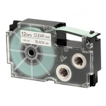 Ruban adhésif XR-12X1-W-DJ - noir sur transparent - 12 mm - Casio