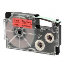 Ruban adhésif XR-9RD1-W-DJ - noir sur rouge - 9 mm - Casio