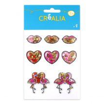 8 stickers 3D confettis Coeurs - Créalia