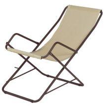 Bahama Reclining chair - Foldable by Emu - Brown,Beige - Metal