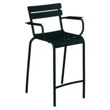 Fermob - Chaise de bar Luxembourg en Métal, Aluminium - Couleur Noir - 62.5 x 100.5 cm - Designer Frédéric Sofia