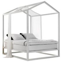 Casetta in Canadá Four-poster bed - / 213 x 173 x H 235 cm by Mogg - White - Wood