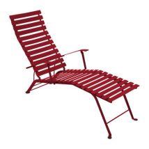 Fermob - Chaise longue Bistro en Métal, Acier laqué - Couleur Rouge - 54.5 x 89 cm - Designer Patrice Hardy