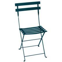 Fermob Chaise pliante Bistro, Bleu Acapulco, Métal. L:38cm h:82cm