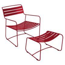 Fermob Set fauteuil & repose-pieds Surprising, Piment, Métal. L:62cm h:70cm