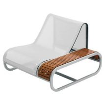 Tandem Armchair - Teak version - Left armrest by EGO Paris - White,Teak - Metal