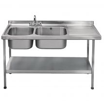 Franke Sissons Self Assembly Stainless Steel Double Sink Right Hand Drainer 1500x600mm