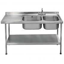Franke Sissons Self Assembly Stainless Steel Double Sink Left Hand Drainer 1500x600mm