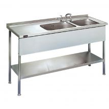 Lincat Stainless Steel Double Sink Unit with Left Hand Drainer