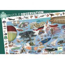 DJECO - Toffe observatiepuzzel - Luchtvaart - 200 stukjes