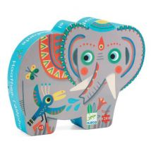 DJECO - Lieve silhouetpuzzel - Aziatische olifant Haathee - 24 stukjes