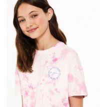 Girl Pink Tie Dye NYC Logo T-Shirt New Look