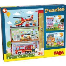 Set de 3 puzzles 24 pièces - ma petite caserne de pompiers
