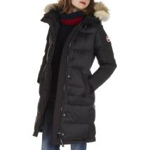 fitted nylon parka with removable fur hood