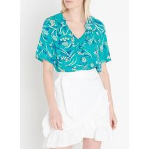 floral print crepe v-neck top with ruffles