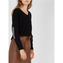 v-neck wool and cashmere sweater maison 123 noir