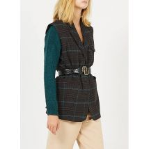 checked sleeveless jacket with tailored collar