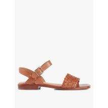 metallic leather flat sandals mellow yellow camel