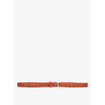 braided leather belt pieces cognac