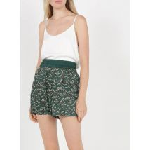 high-waisted straight satiny ethnic print shorts