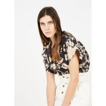 printed v-neck cotton top soeur noir/blanc