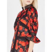 short printed crepe dress with victorian collar