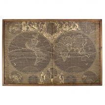 140x93cm world map printed bamboo and pine artwork (139.8x92.4x4.7cm) - Maisons du Monde