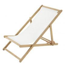 Acacia and Ecru Canvas Folding Deckchair (58x80x101cm) - Maisons du Monde