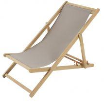 Acacia and Grey Canvas Folding Deckchair (57.5x80x101cm) - Maisons du Monde