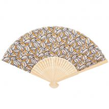 Bamboo fan with yellow and white leaf print (0x0x0cm) - Maisons du Monde