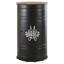Barmöbel aus schwarzem Metall und massivem Tannenholz - Schwarz - 60x110x60cm - Maisons du Monde