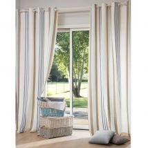 Baumwoll-Ösenvorhang, 140x250 Streifenmuster, 1 Vorhang - Mehrfarbig - 140x250x0cm - Maisons du Monde