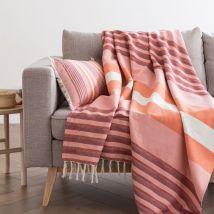Baumwolldecke mit dreifarbigem Streifenmuster und Fransen 160x210 - Rosa - 160x210x0cm - Maisons du Monde