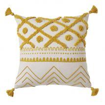 Baumwollkissen mit Pompons, naturweiß mit grafischen Motiven in Senfgelb 40x40 - Gelb - 40x40x2cm - Maisons du Monde