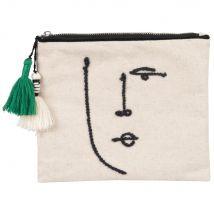 Beige and black linen and cotton pouch (22x19x0cm) - Maisons du Monde