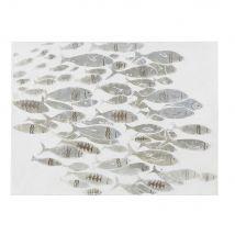 Beschilderd doek met vissen 90 x 120 cm - Beige - 90x120x3.5cm - Maisons du Monde