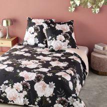 Bettwäschegarnitur aus Baumwolle, schwarz mit Blumenmuster 220x240 - Rosa - 240x220x0.5cm - Maisons du Monde