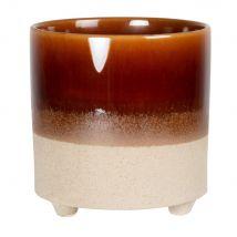 Caramel brown and beige stoneware planter H16cm (16x16x16cm) - Maisons du Monde