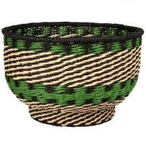 Cesta de fibra vegetal negra, verde y blanca - Multicolor - 34x22x0cm - Maisons du Monde