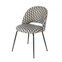 Chaise motifs graphiques et métal noir - Or - 51x81x54cm - Maisons du Monde