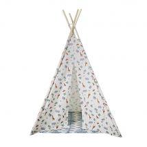Children's Ecru Printed Tepee with Rug (120x140x120cm) - Maisons du Monde