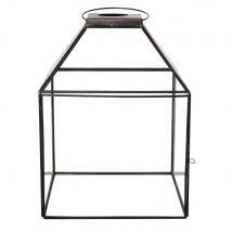 Clear glass and black metal lantern (20x28x20cm) - Maisons du Monde