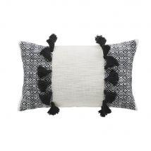 Coussin en coton tissé écru avec pompons 30x50 - Blanc - 50x30x10cm - Maisons du Monde