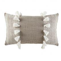 Coussin en coton tissé taupe avec pompons 30x50 - Blanc - 50x30x10cm - Maisons du Monde