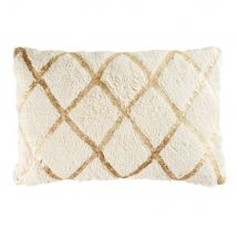 Cuscino in cotone bianco a motivi grafici dorati, 40x60 - Dorato - 60x40x10cm - Maisons du Monde