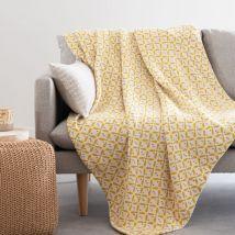 Decke aus Baumwolle mit grafischen Motiven, 160x210cm - Weiß - 160x210x0cm - Maisons du Monde