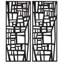 Diptyque en métal noir 50x60 - Noir - 50x60x1cm - Maisons du Monde